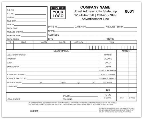 Towing Company Invoice Custom Forms Printit4less Com Custom Towing Company Contract Template