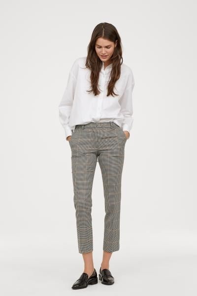 0217a87d6 Stovepipe Pants - Cream black checked - Ladies