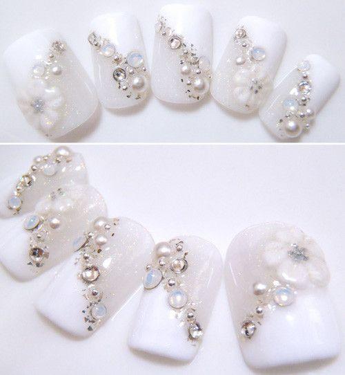 白・ホワイト・斜めフレンチ・お花【商品番号:10000230】