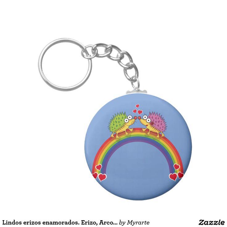 Lindos erizos enamorados. Erizo, Arcoiris. Producto disponible en tienda Zazzle. Product available in Zazzle store. Regalos, Gifts. Link to product: http://www.zazzle.com/lindos_erizos_enamorados_erizo_arcoiris_basic_round_button_keychain-146185874933088189?CMPN=shareicon&lang=en&social=true&rf=238167879144476949 Día de los enamorados, amor. Valentine's Day, love. #ValentinesDay #SanValentin #love #llavero #KeyChain #erizo #hedgehog