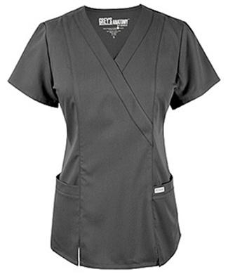 Grey's Anatomy Scrubs - Mock Wrap Top with Princess Seams and Elastic Back ( Junior Fit)