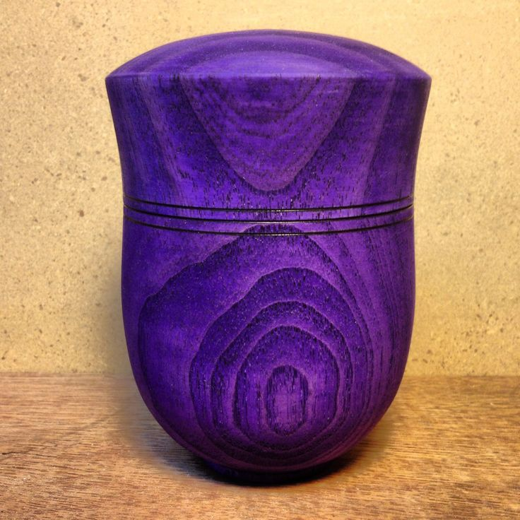 Purple Wood Stain: Ash Stained Purple With Leather Stain.