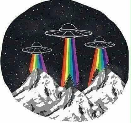 alien, rainbow, and ufo-bild