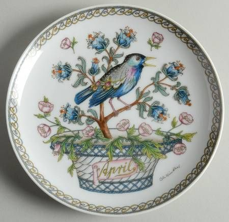 """Hutschenreuther Plates of the Month - Bb Size - """"April:"""" Starling - Artist: Ole Winther"""