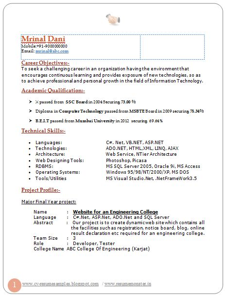 professional curriculum vitae resume template for all job seekers sample template of latest best fresher resume sample two page resume of b te - Information Technology Resume Template