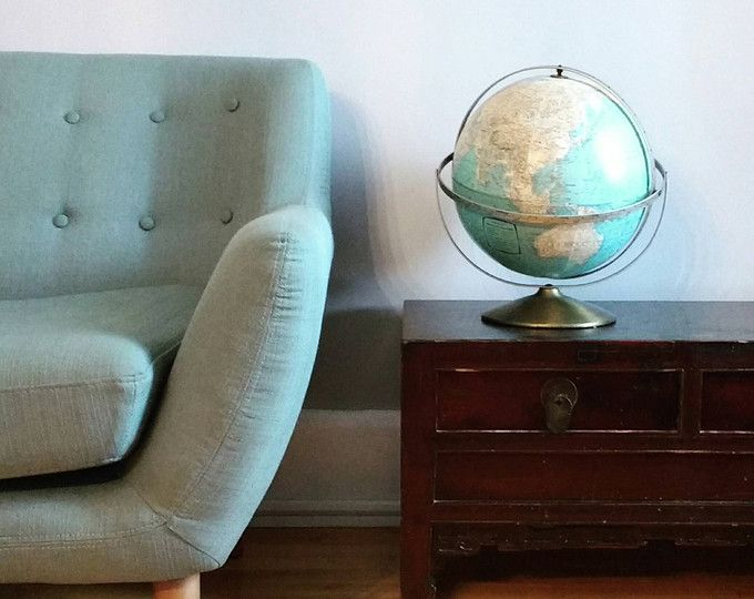 Vintage geographical globe by Rand McNally USA 1960s, table standing 11 inch world globe, turns 360 degrees, libarary decor