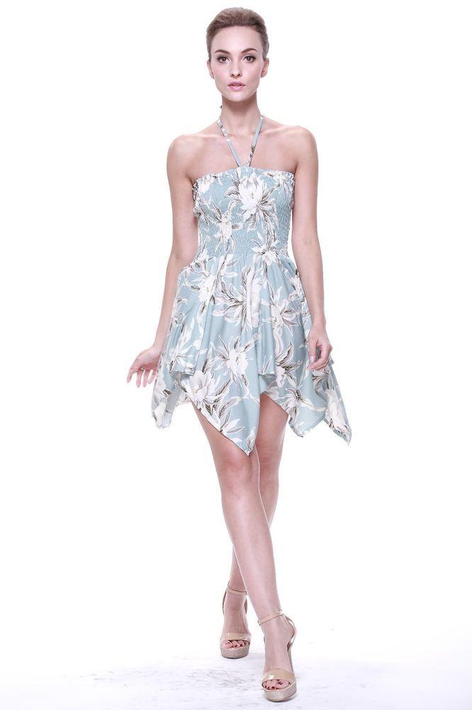 Tropical Hawaiian Luau Dress Cruise Uneven Fairy Elf Gypsy Waterlily Sky Blue