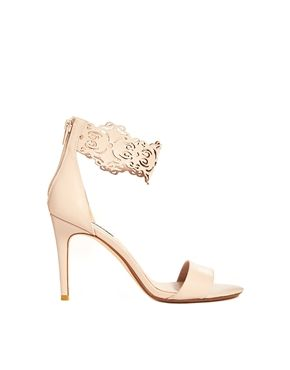 Dune Hilaze Nude Leather Ankle Cuff Heeled Sandals