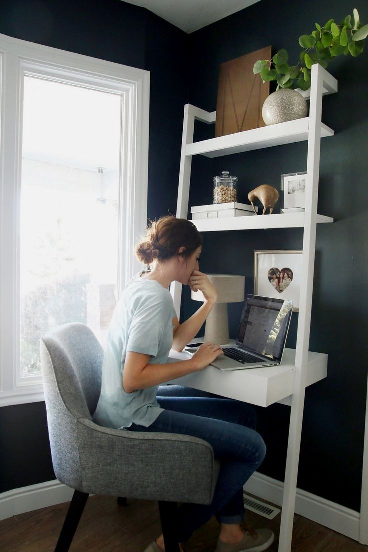 Sawyer White Leaning Desk | Bedroom Remodeling ideas in 2019 ... on small home office furniture, small home office cabinets, small home fireplaces, small home office library, small home office paint, small home office lighting, small home office photography, small home retaining walls, small home office design,