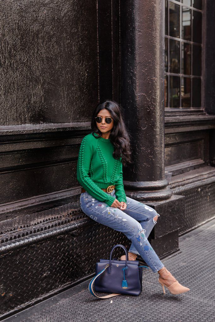 A pop of color will take a pair of jeans to next level chic.