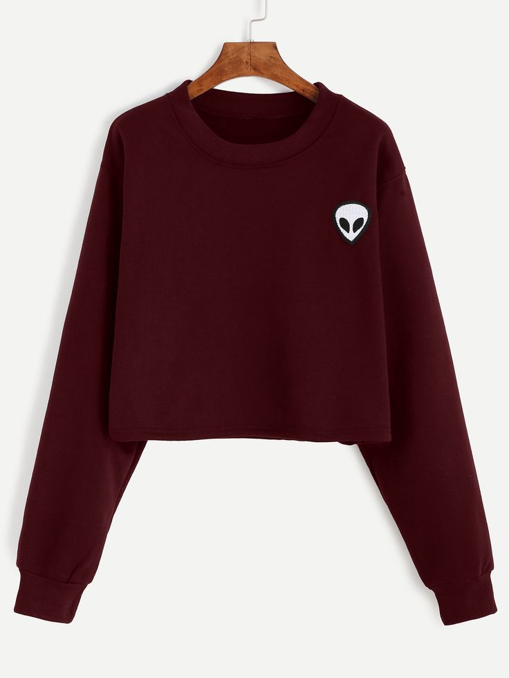 Shop Burgundy Alien Embroidered Crop Sweatshirt online. SheIn offers Burgundy Alien Embroidered Crop Sweatshirt & more to fit your fashionable needs.