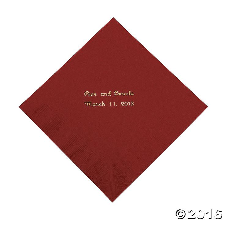 Burgundy Personalized Luncheon Napkins with Gold Print - OrientalTrading.com