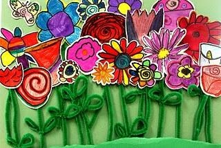 drawn flowers with pipe cleaner stems