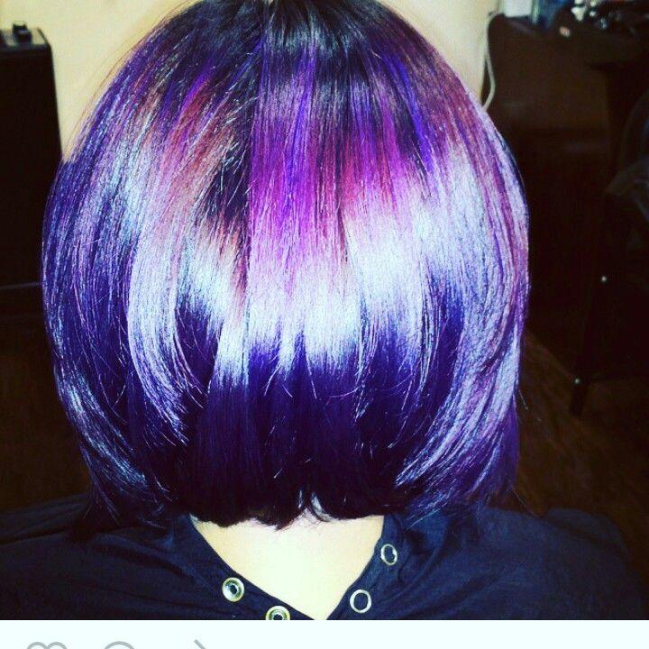 purple hair, purple bob