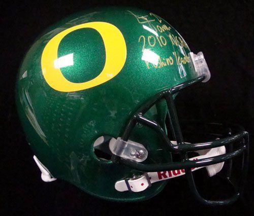 LaMichael James Autographed Oregon Ducks Full Size Replica Helmet 2010 NCAA Rushing Leader PSA/DNA RookieGraph . $189.00. This is an Oregon Ducks Full Size Replica Helmet that has been hand signed by LaMichael James. It has been authenticated and certified as a rookie autograph by PSA/DNA and comes with their sticker and matching certificate.