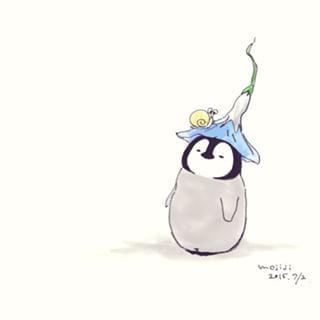あさがおのおぼうし #イラスト#ペンギン#花#ぺんちゃん#ぺんぎん
