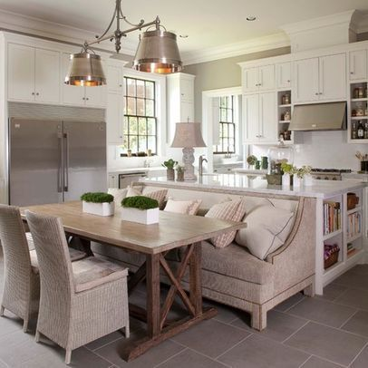 Pin by sheli o 39 neal on for the home pinterest - Kitchen island with table attached ...