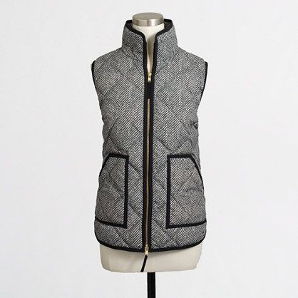 J Crew Factory: Printed Quilted Puffer Vest Color: Herringbone/Black Size: XS https://factory.jcrew.com/womens-clothing/blazers_outerwear/vests/PRDOVR~02533/02533.jsp?color_name=Black&srcCode=FAGGPF00001_99103076430_192724339_13187519779_62293577359_c_pla_pla-62293577359_9021719&sisearchengine=197&siproduct=02533&noPopUp=true&gclid=COaL-aa95tACFdgWgQodcQgOfQ&gclsrc=aw.ds