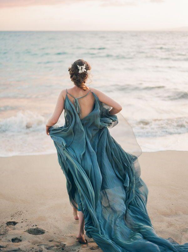 A Flowy Teal Wedding Gown By Carol Hannah At A Maui Beach Wedding