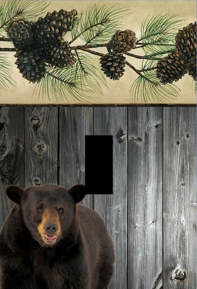 bear lodge cabin rustic home decor Light switch plate cover outlets black bears #Unbranded
