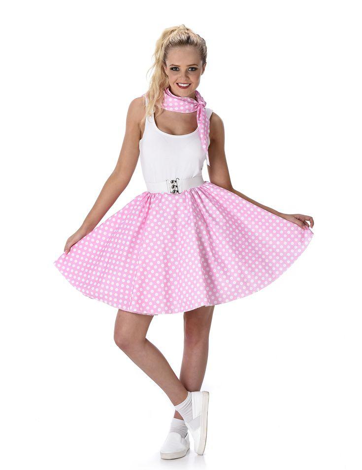 Disfraz años 50 rosa con puntos blancos mujer: Este disfraz de los años 50 para mujer incluye falda con cinturón y pañuelo (camiseta, calcetines y zapatos no incluidos).La falda tiene volumen y es rosa claro con puntos...