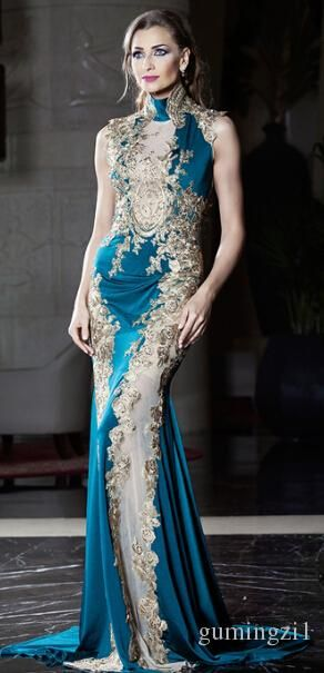 Evening Dresses For Larger Ladies New 2015 Sexy Long Mermaid Evening Dresses High Neck Sequins Appliques Satin Middle East Style Sheer Prom Gowns Sweep Train Sleeveless Evening Dress Online Malaysia From Gumingzi1, $172.78| Dhgate.Com