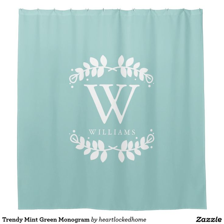 trendy mint green monogram shower curtain