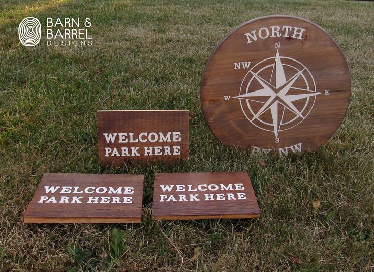 Custom requested  wood circle Compass sign with three barnwood parking sign
