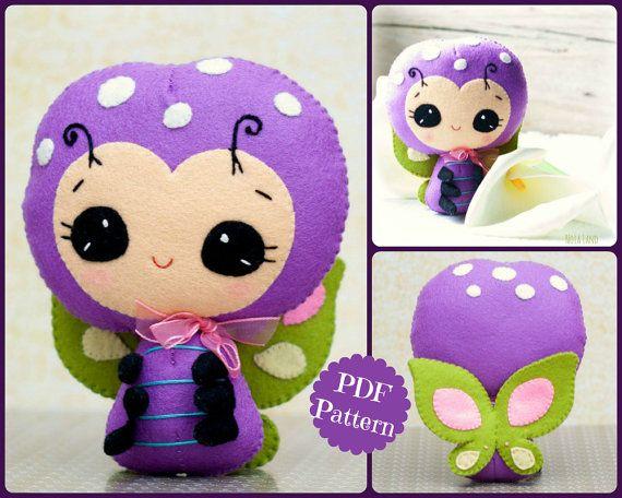 PDF. Mariposa sonriente. Patrón de muñeca de la felpa.  Patrón de Pilot, suave fieltro patrón de juguete.