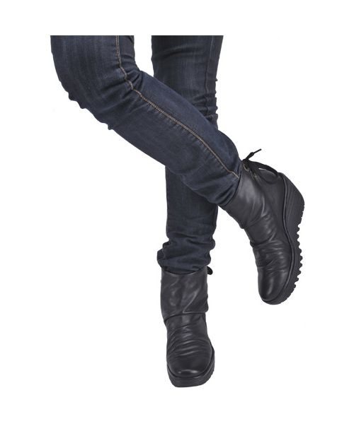 Fly london yama black leather womens boots