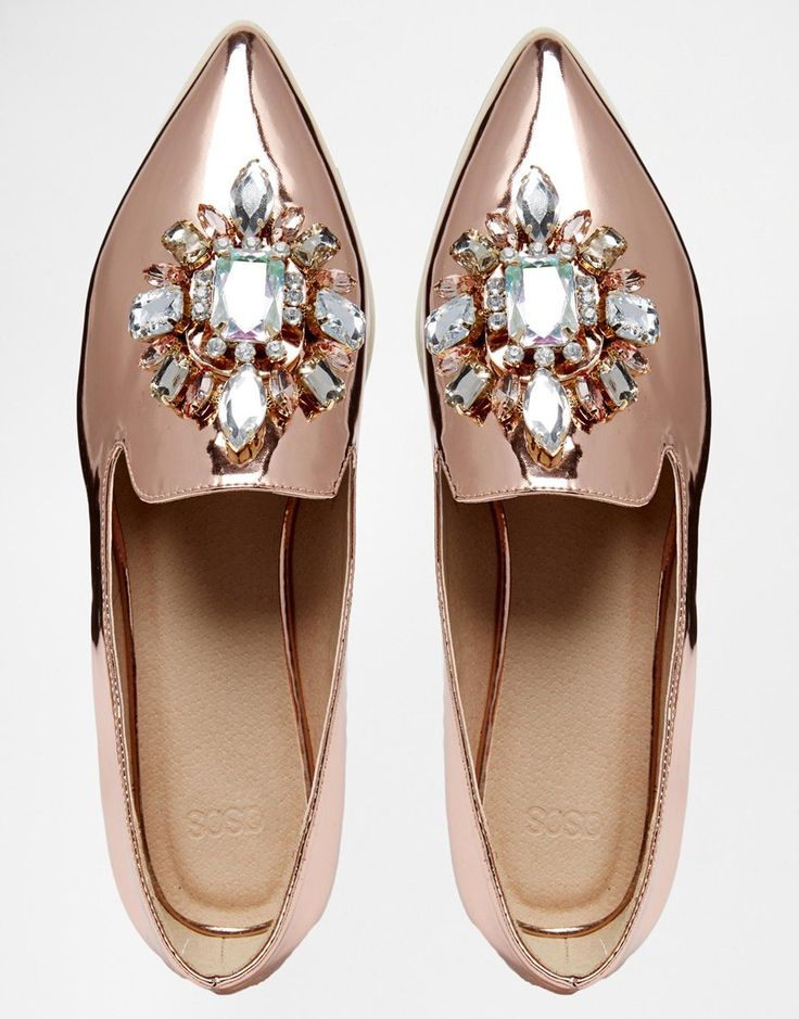 Image 3 of ASOS METAPHOR Embellished Flat Shoes