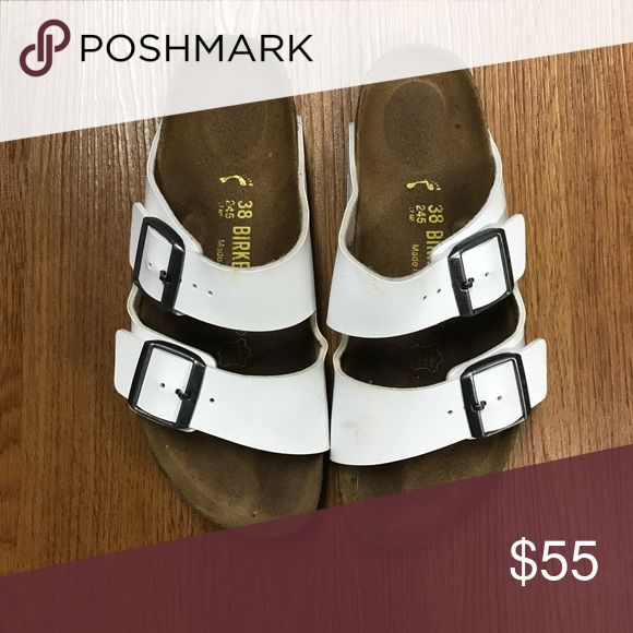 White Birkenstock Sandals White Birkenstock sandals size 38- Ladies size 7, Men's size 5. Only worn a couple times. Minor spot on front but barley noticeable. Great condition. Birkenstock Shoes Sandals