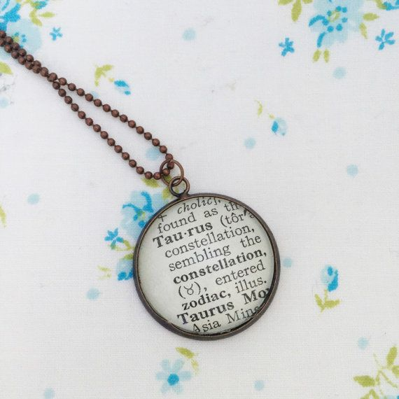 Etsy item. Taurus Necklace Zodiac Vintage Dictionary Word Pendant.