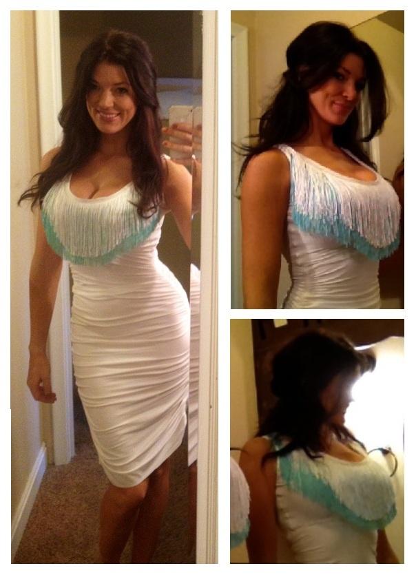 White Dress With Layers Of Turquoise Amp White Fringe I