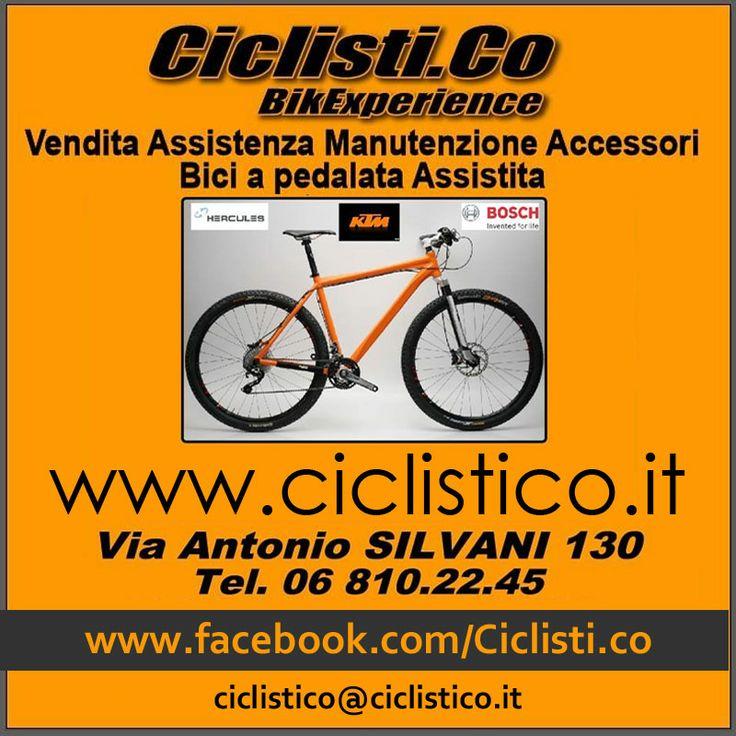 Vendita Biciclette - Assistenza e Manutenzione - Accessori - Biciclette elettriche a pedalata assistita - CICLISTICO e' in Via Antonio Silvani, 130 Roma (Prati Fiscali) - tel. 06 8102245 - mailto: ciclistico@ciclistico.it - Facebook: www.facebook.com/Ciclisti.co - website: www.ciclistico.it