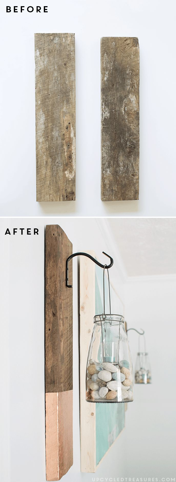 See how easy it is to create this vertical DIY Modern Rustic Wall Hanging from salvaged wood