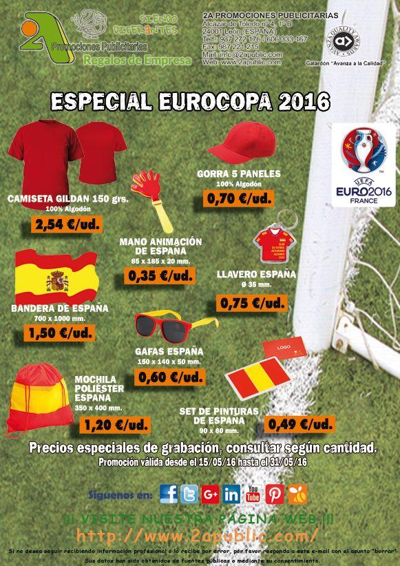 ¡¡¡ 2A - Equípate para la EUROCOPA !!!.  Selección de artículos para estar completamente equipado de cara a la próximo #Eurocopa.  NO se requieren cantidades mínimas.  Para más información y solicitud de presupuestos, sin ningún tipo de compromiso, no dude en contactarnos:  2A PROMOCIONES PUBLICITARIAS, S.L. Alcázar de Toledo 4, 1º B. 24001 León Telf. 987 272 176 / 902 322 122 Móvil. 606 333 467 Fax. 987 221 215 E-mail: info@2apublic.com www.2apublic.com  #euro2016