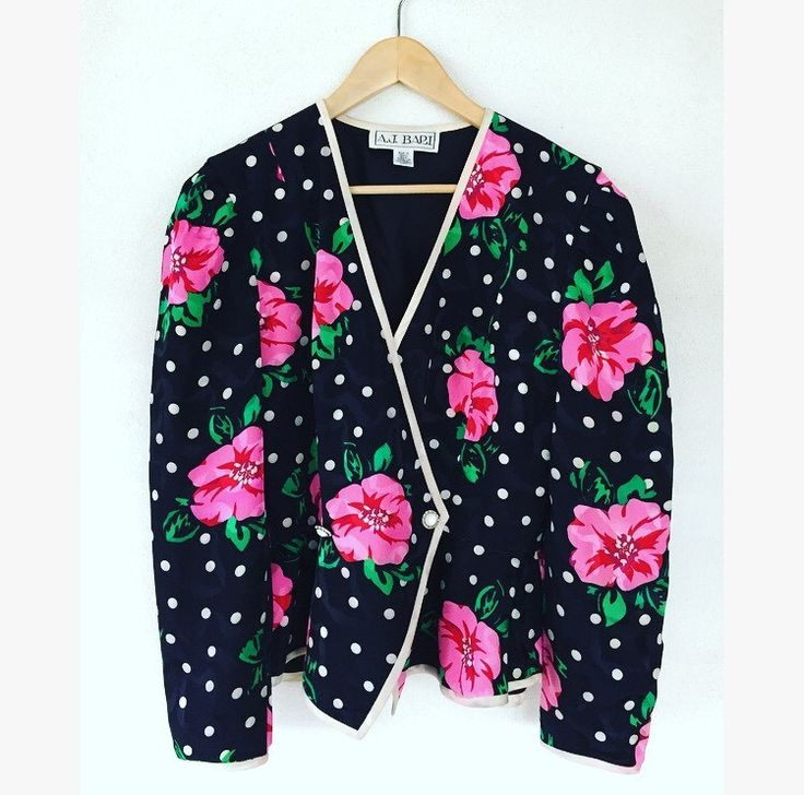 eltoft vintage - Floral Polka Dot Print Silk Jacket - $40.00