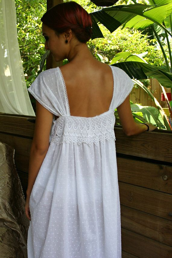 Limited Edition White Cotton Nightgown Dotted Swiss Cotton Batiste Peacock Lace Caplet Sleeve Lingerie Sleepwear