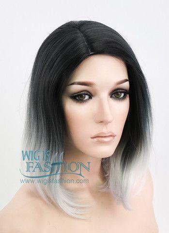 "14"" Medium Wavy Black Mixed Grey Fashion Synthetic Hair Wig WIG101"
