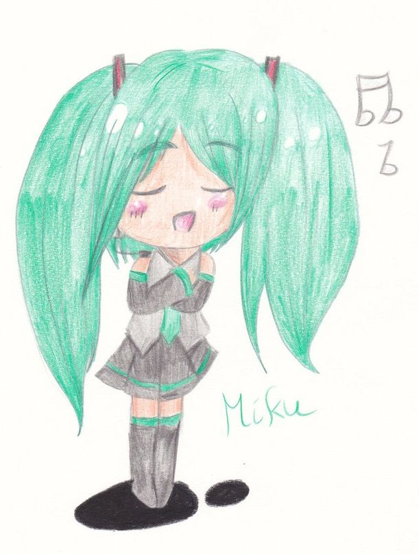 A chibi of #hatsune Miku       #vocaloid