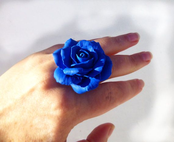 Rose ring Big ring Flower ring Royal blue ring Floral ring Unique ring Large ring Metal base Rhodium Hypoallergenic ring Polymer Clay SIZE8