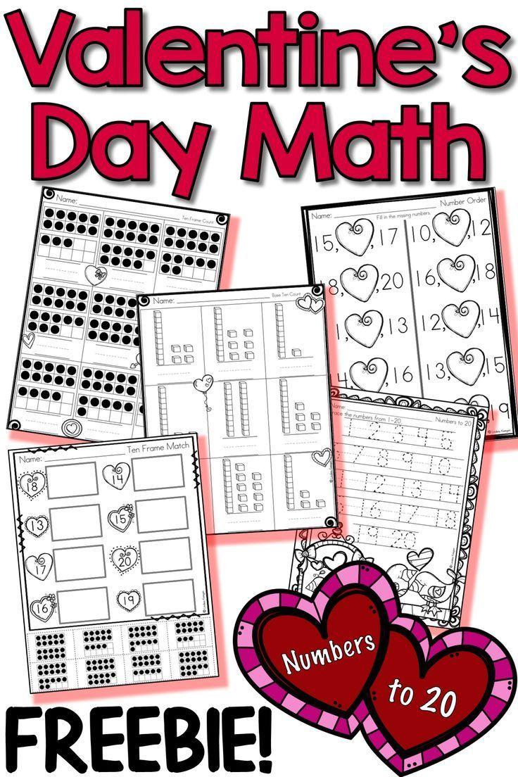 Valentine S Day Math Numbers Freebie Valentine Math Activities Valentine Math Worksheet Kindergarten Valentines