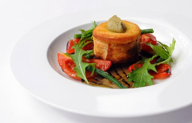Goat's cheese crotin with marinated chargrilled vegetables by Stephen Crane