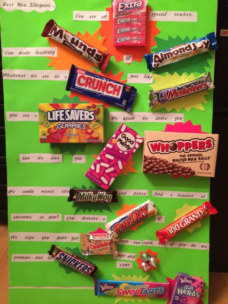 "Thoughtful birthday card made by 4th graders for their teacher using poster board and candy. Like ""MAD LIB"" books fill in the blanks using candy. Fill in your own special message and get creative with it."