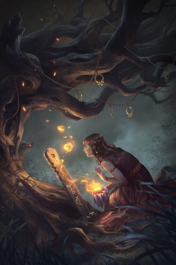 Можжевельник дерево и исцеляющие заклинания лежат на setiawan-х...  