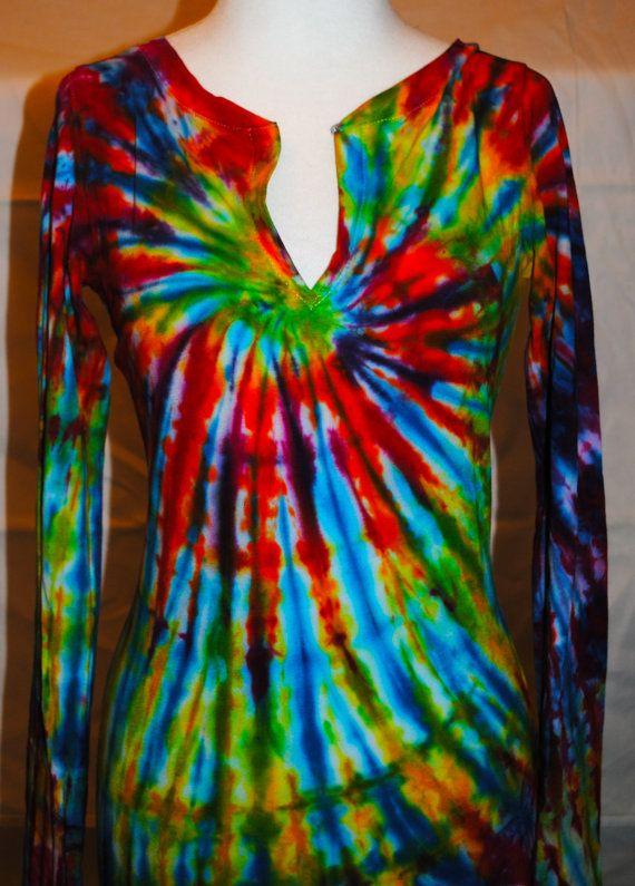 tie die long sleeve | Women's Long Sleeve Tie Dye Tunic MEDIUM by JamesPrestonSF