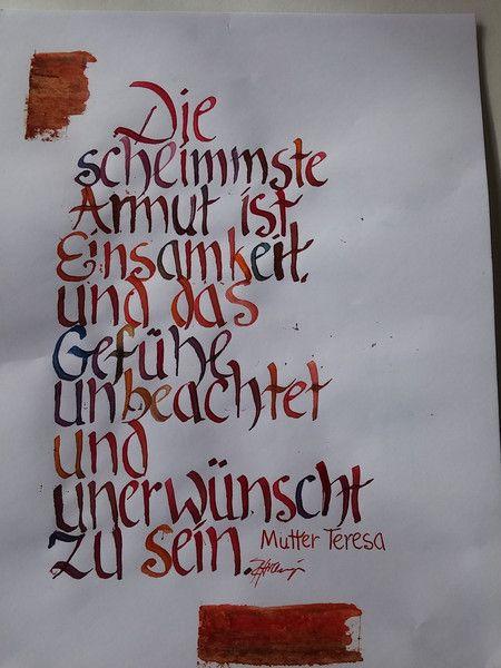 Weiteres - Kalligrafie die schlimmste Armut ist Einsamkeit. - ein Designerstück von romanhollinger bei DaWanda
