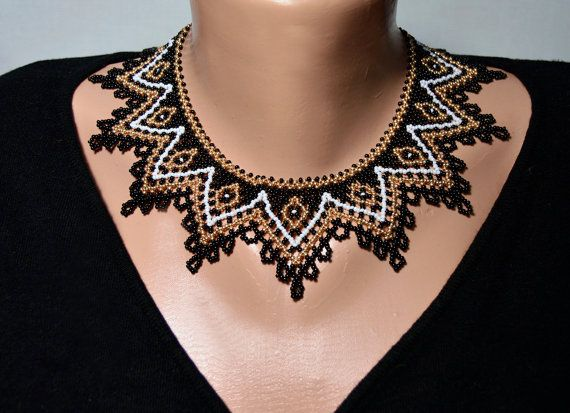 Beaded Necklace, Black Gold White beadwork necklace