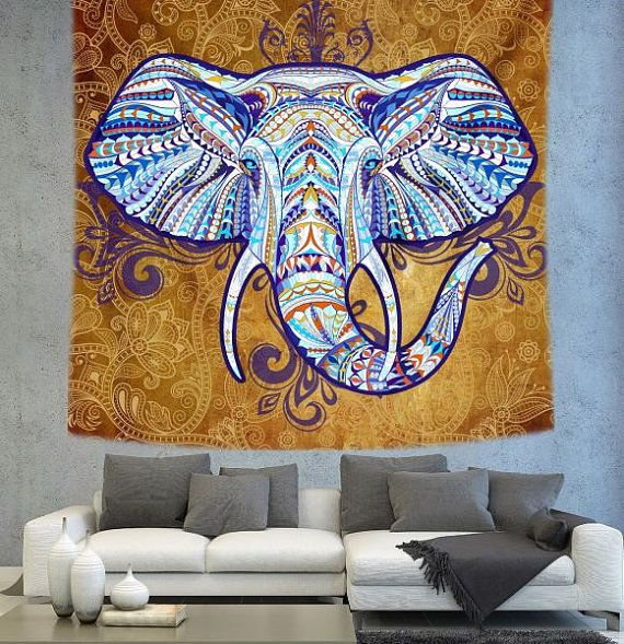Elephant tapestry Bohemian elephant Bohemian by Christinedecorshop